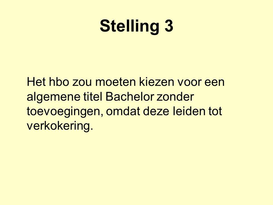 Stelling 3 Het hbo zou moeten kiezen voor een algemene titel Bachelor zonder toevoegingen, omdat deze leiden tot verkokering.