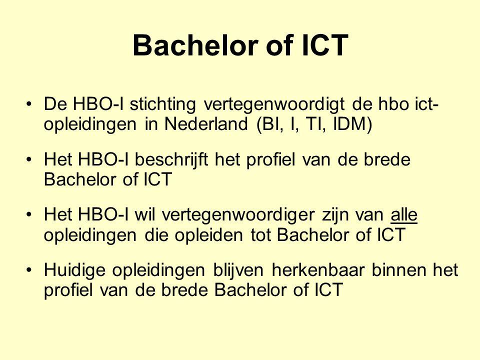 Bachelor of ICT De HBO-I stichting vertegenwoordigt de hbo ict-opleidingen in Nederland (BI, I, TI, IDM)