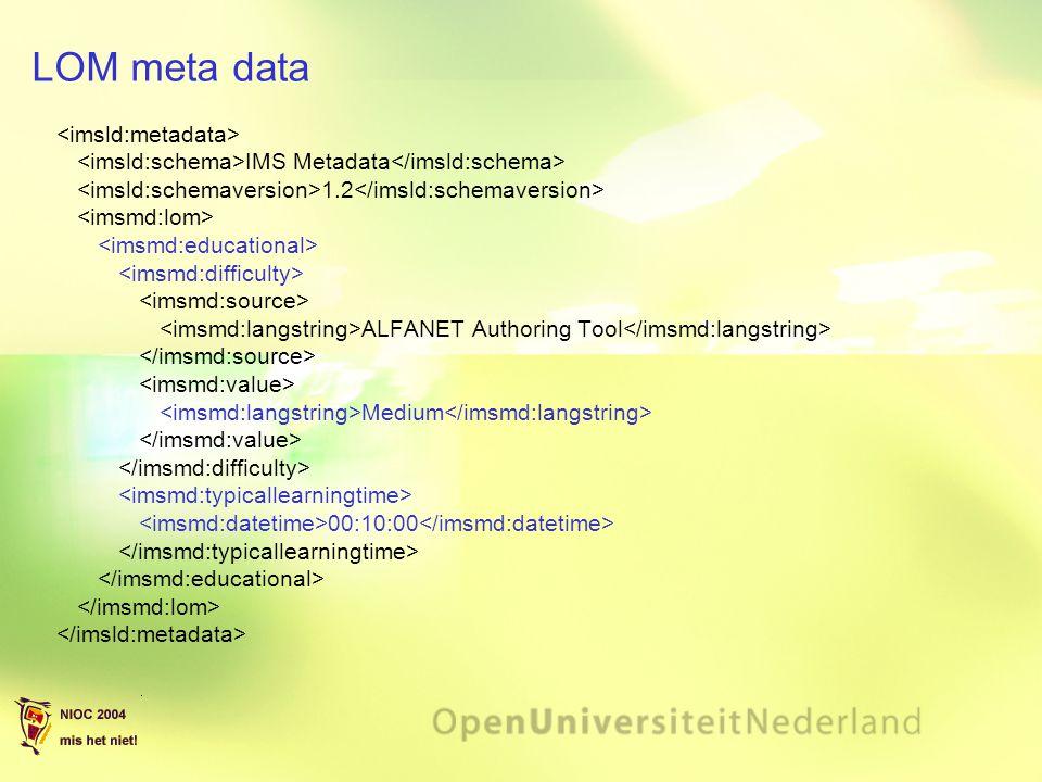 LOM meta data <imsld:metadata>
