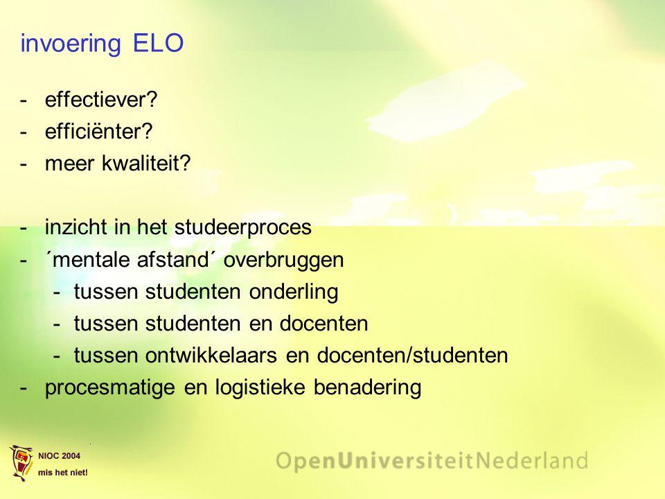 invoering ELO effectiever efficiënter meer kwaliteit