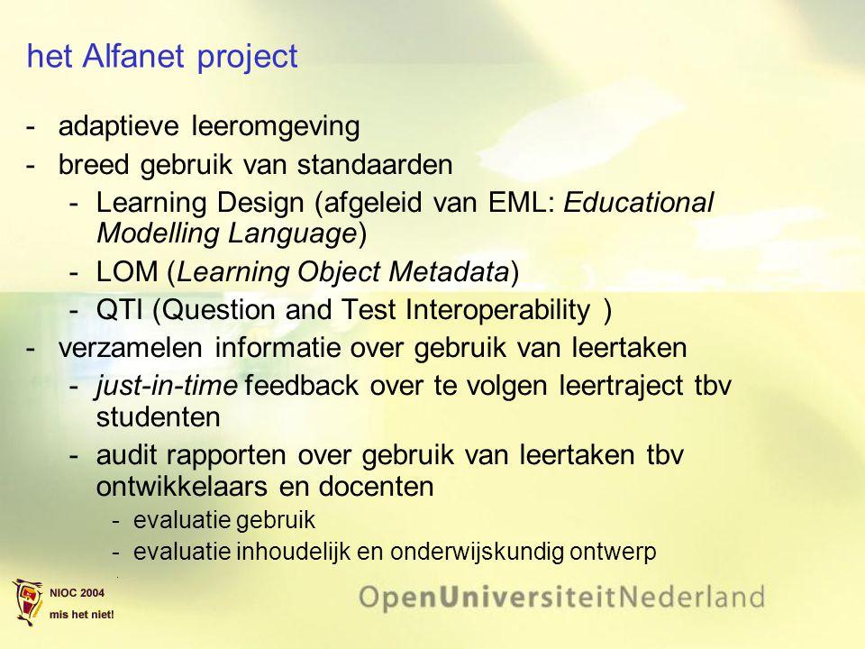 het Alfanet project adaptieve leeromgeving