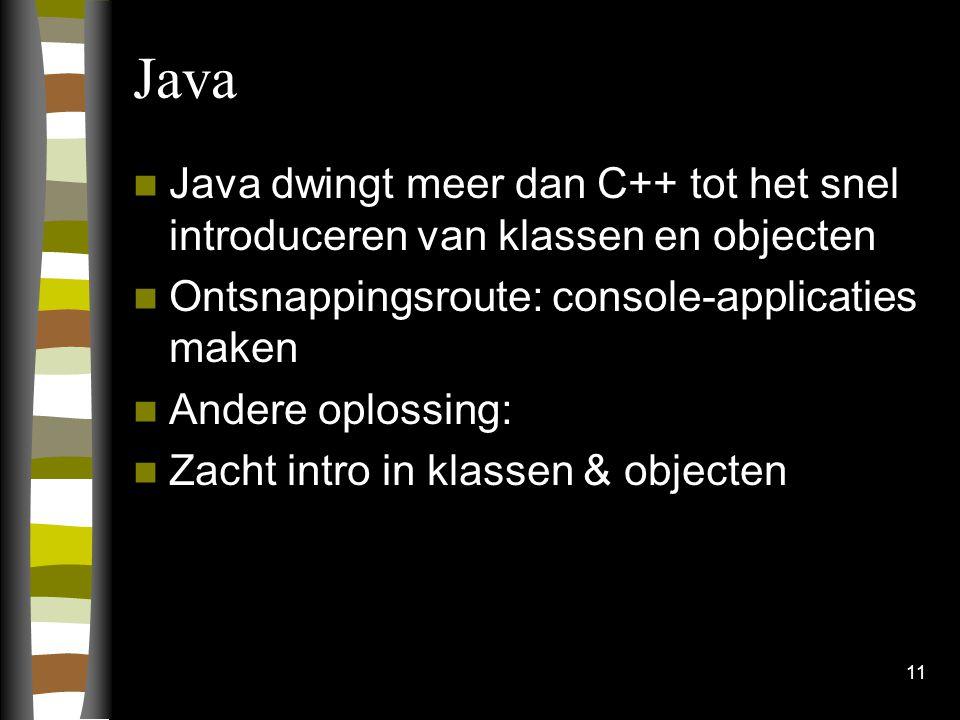 Java Java dwingt meer dan C++ tot het snel introduceren van klassen en objecten. Ontsnappingsroute: console-applicaties maken.