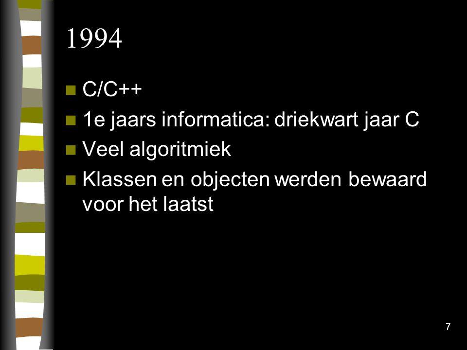 1994 C/C++ 1e jaars informatica: driekwart jaar C Veel algoritmiek