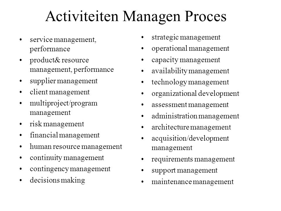 Activiteiten Managen Proces