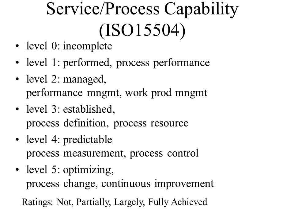 Service/Process Capability (ISO15504)