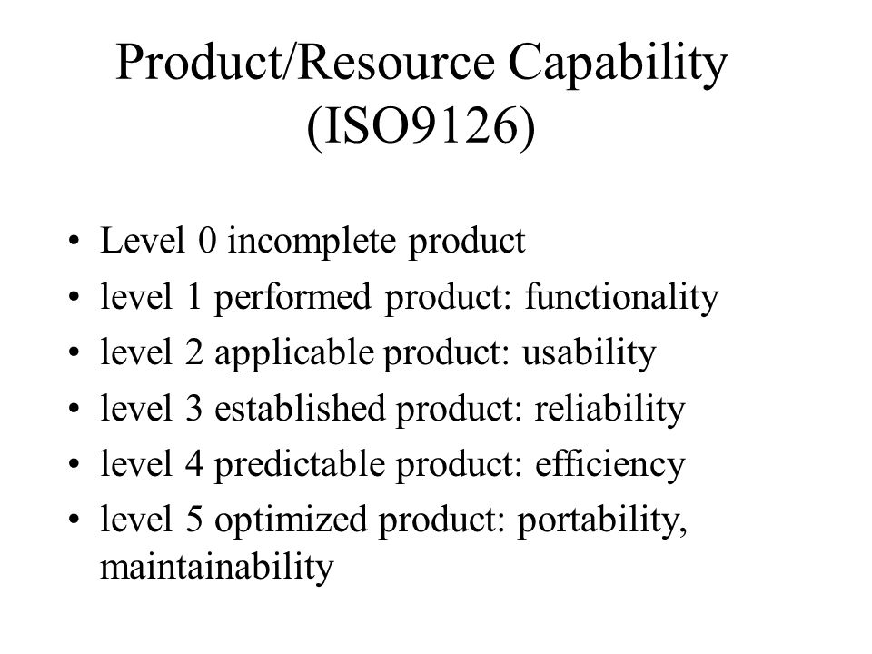 Product/Resource Capability (ISO9126)