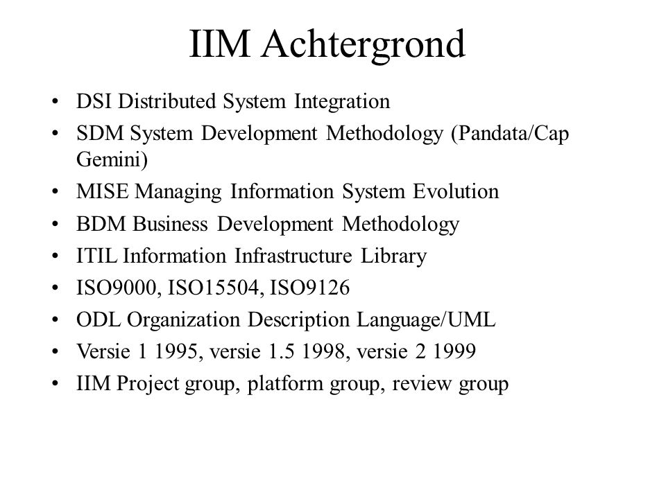 IIM Achtergrond DSI Distributed System Integration