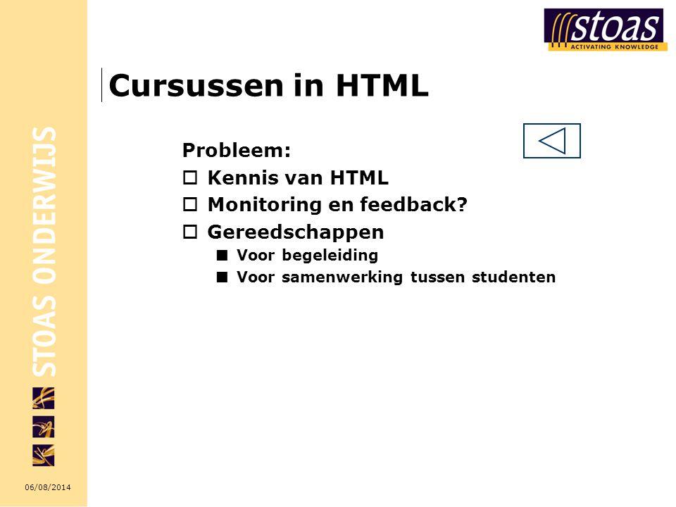 Cursussen in HTML Probleem: Kennis van HTML Monitoring en feedback