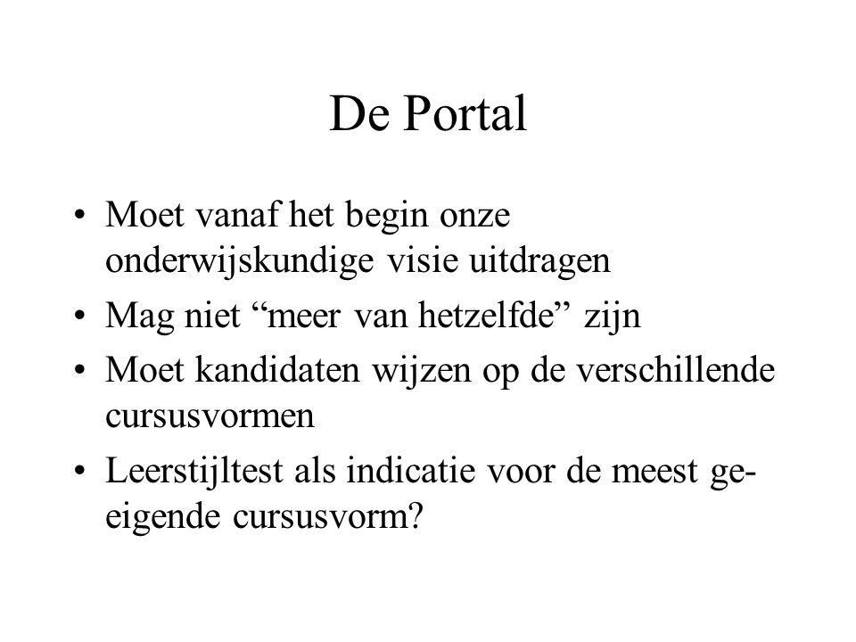 De Portal Moet vanaf het begin onze onderwijskundige visie uitdragen