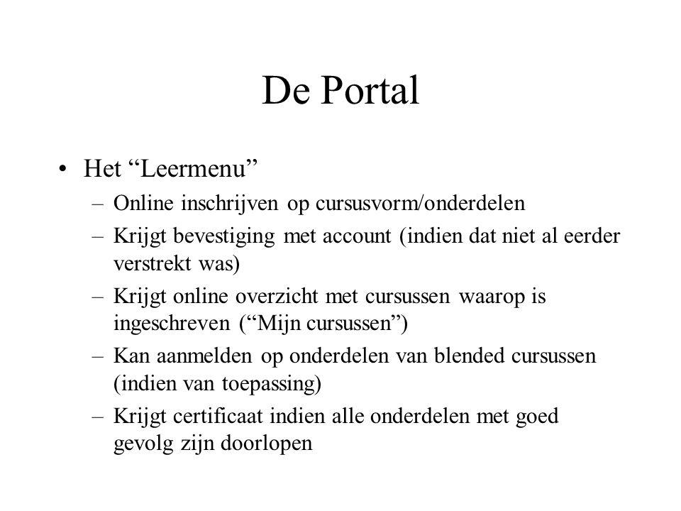 De Portal Het Leermenu Online inschrijven op cursusvorm/onderdelen