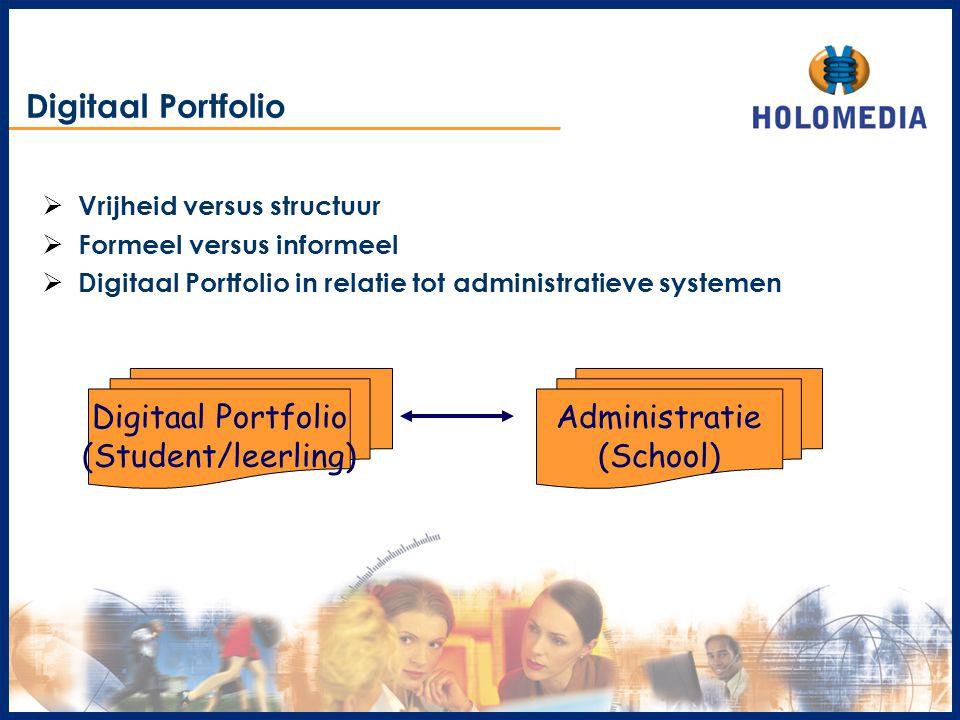 Digitaal Portfolio Digitaal Portfolio (Student/leerling) Administratie