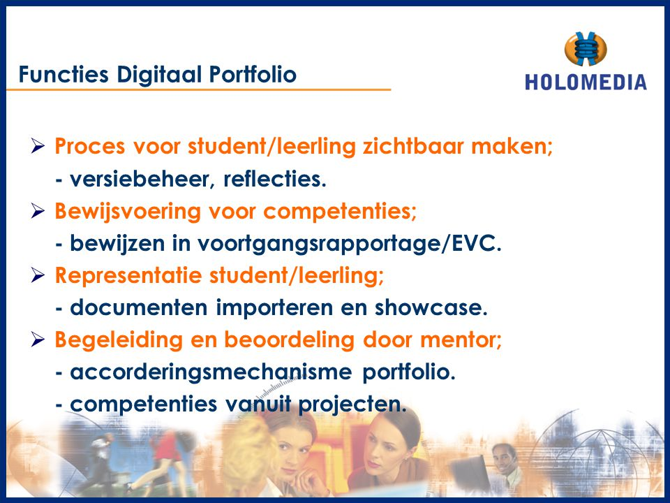 Functies Digitaal Portfolio