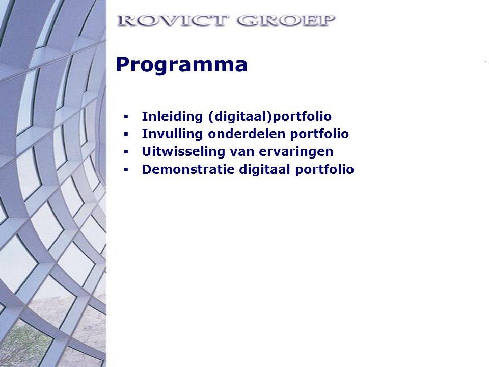 Programma Inleiding (digitaal)portfolio Invulling onderdelen portfolio