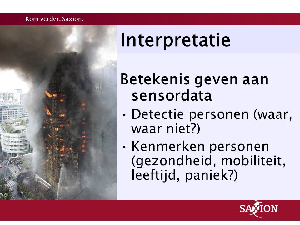 Interpretatie Betekenis geven aan sensordata