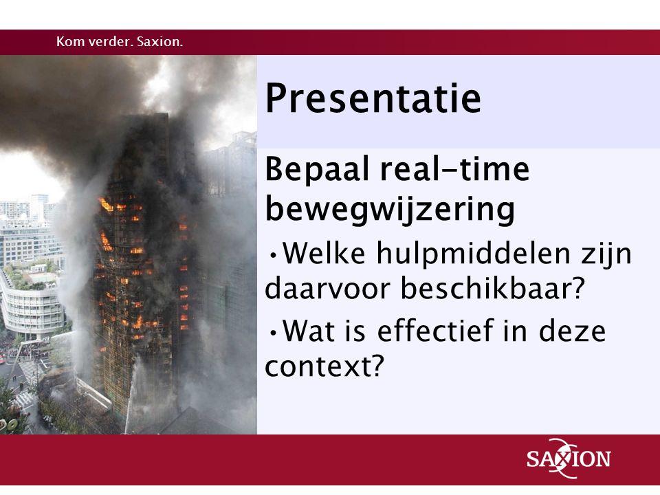 Presentatie Bepaal real-time bewegwijzering