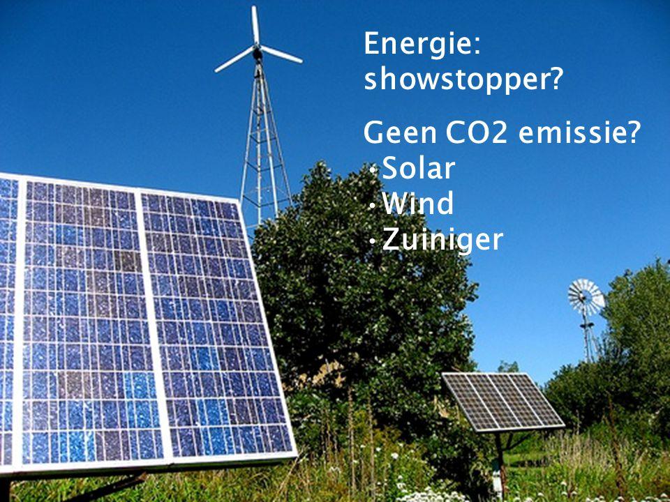Energie: showstopper Geen CO2 emissie Solar Wind Zuiniger