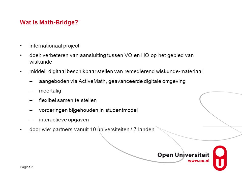 Wat is Math-Bridge internationaal project