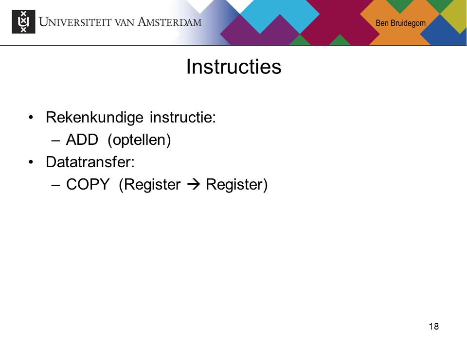 Instructies Rekenkundige instructie: ADD (optellen) Datatransfer: