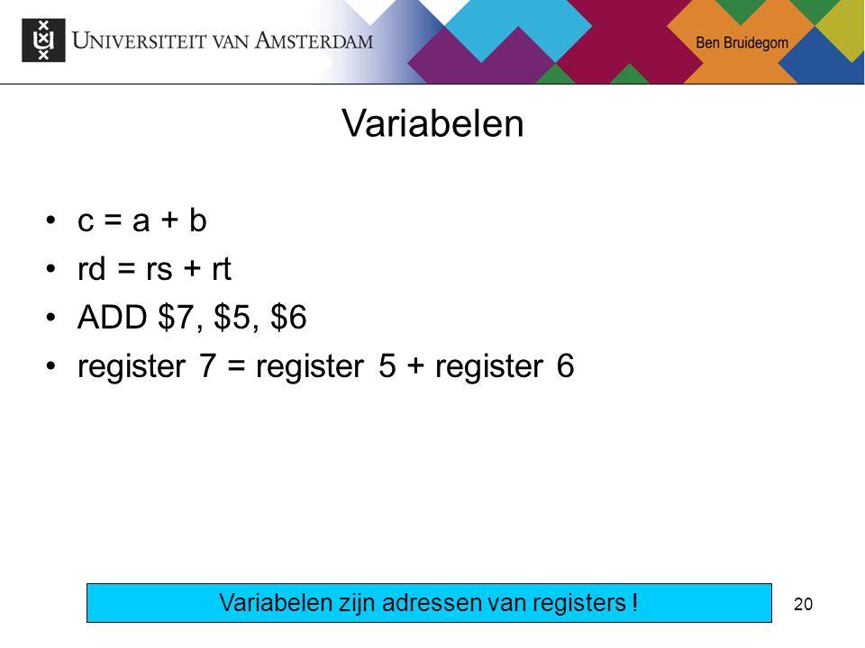 Variabelen zijn adressen van registers !