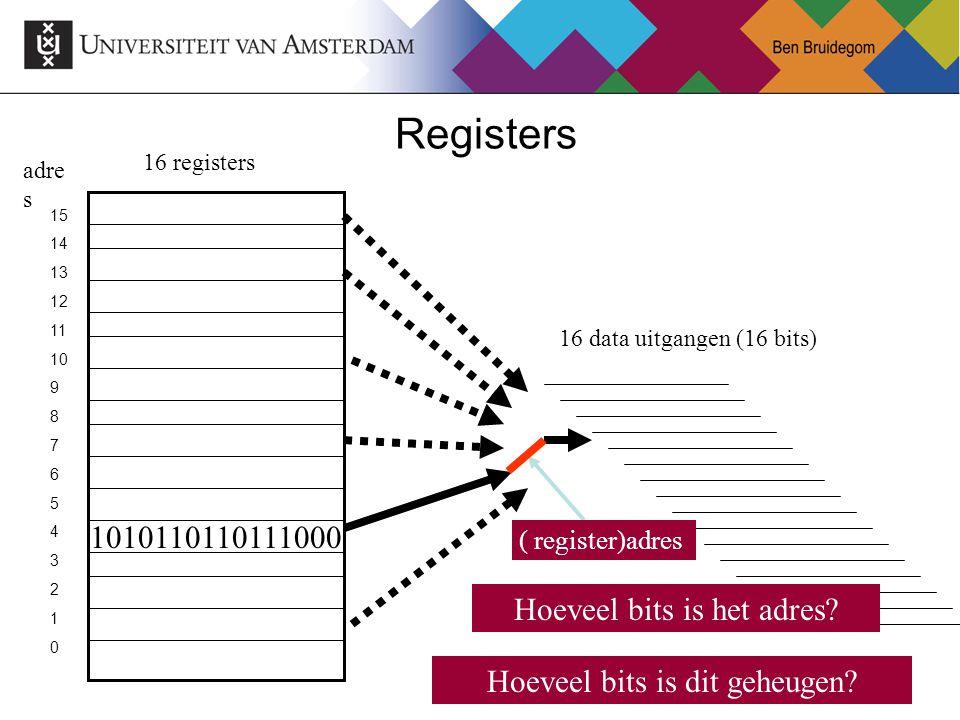 Registers 1010110110111000 Hoeveel bits is het adres