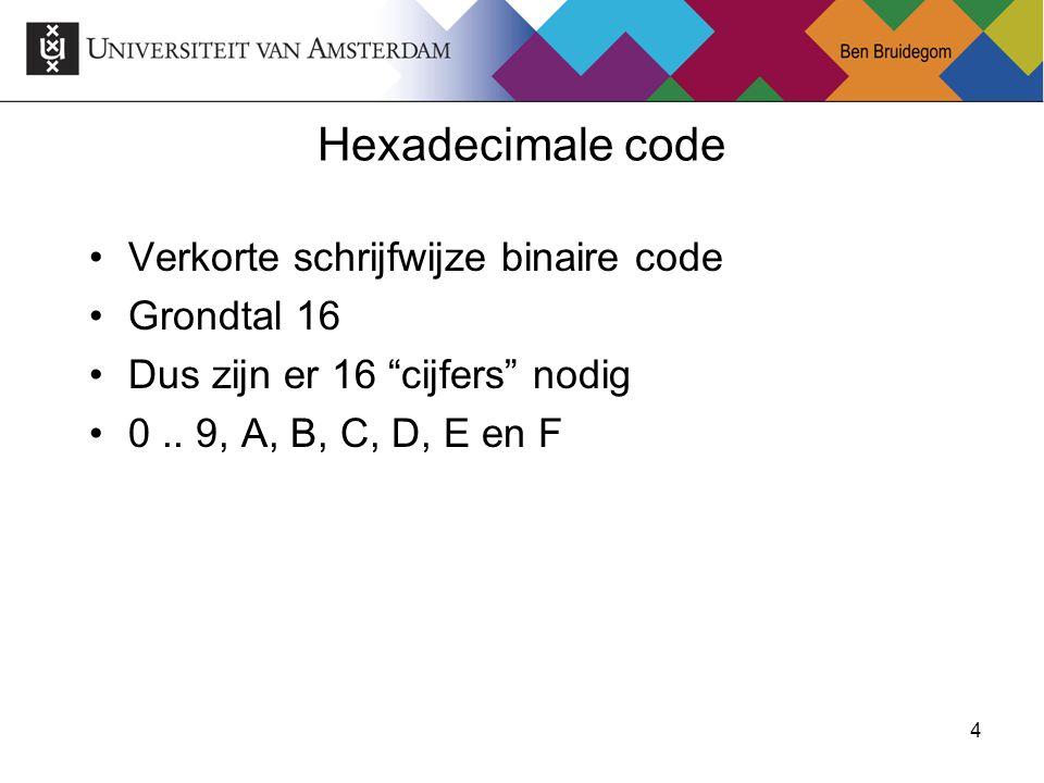 Hexadecimale code Verkorte schrijfwijze binaire code Grondtal 16