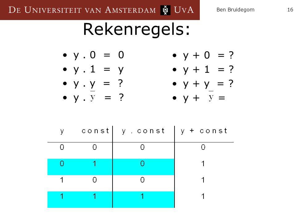 Rekenregels: y . 0 = 0 y + 0 = y . 1 = y y + 1 = y . y =