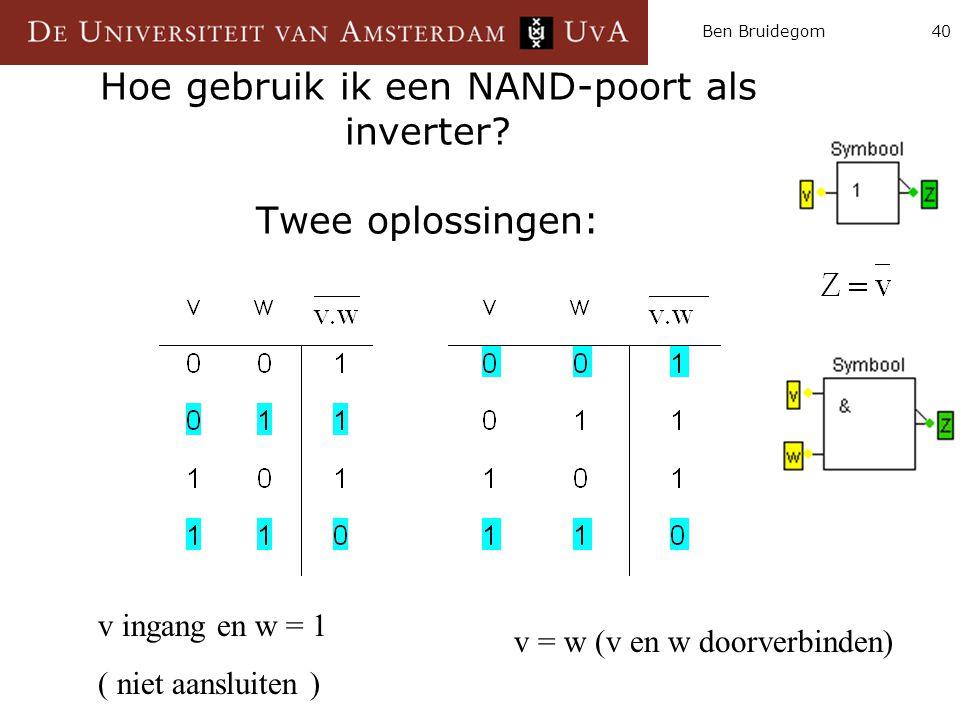 Hoe gebruik ik een NAND-poort als inverter Twee oplossingen: