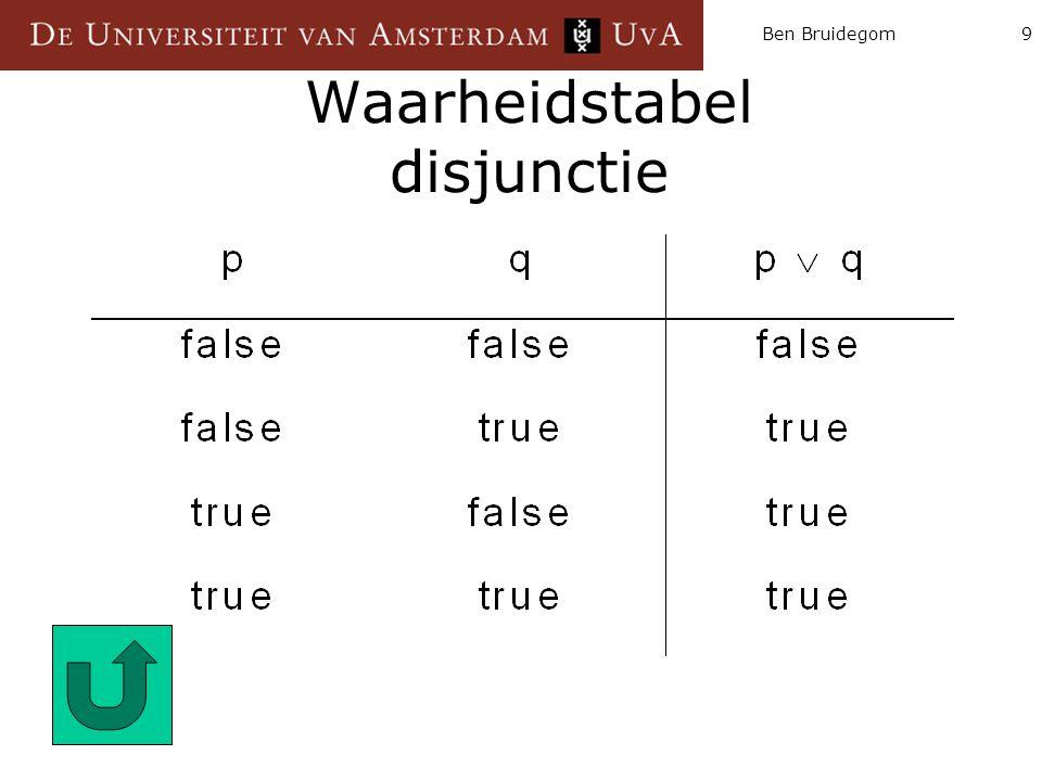 Waarheidstabel disjunctie