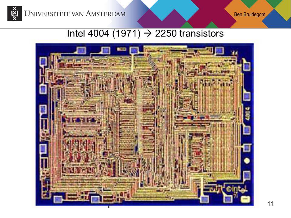 Intel 4004 (1971)  2250 transistors