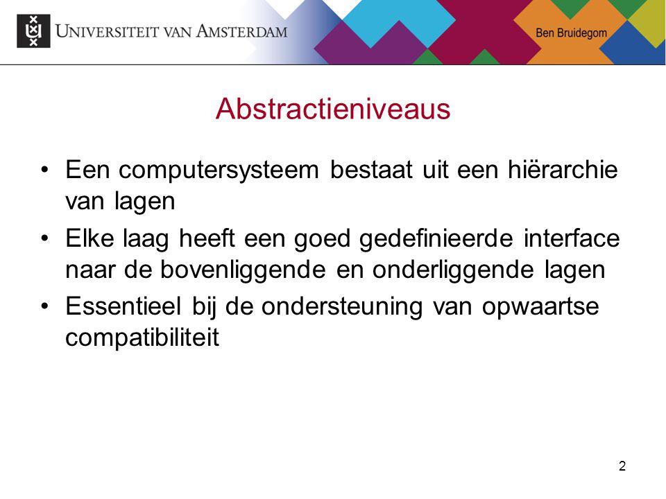Abstractieniveaus Een computersysteem bestaat uit een hiërarchie van lagen.