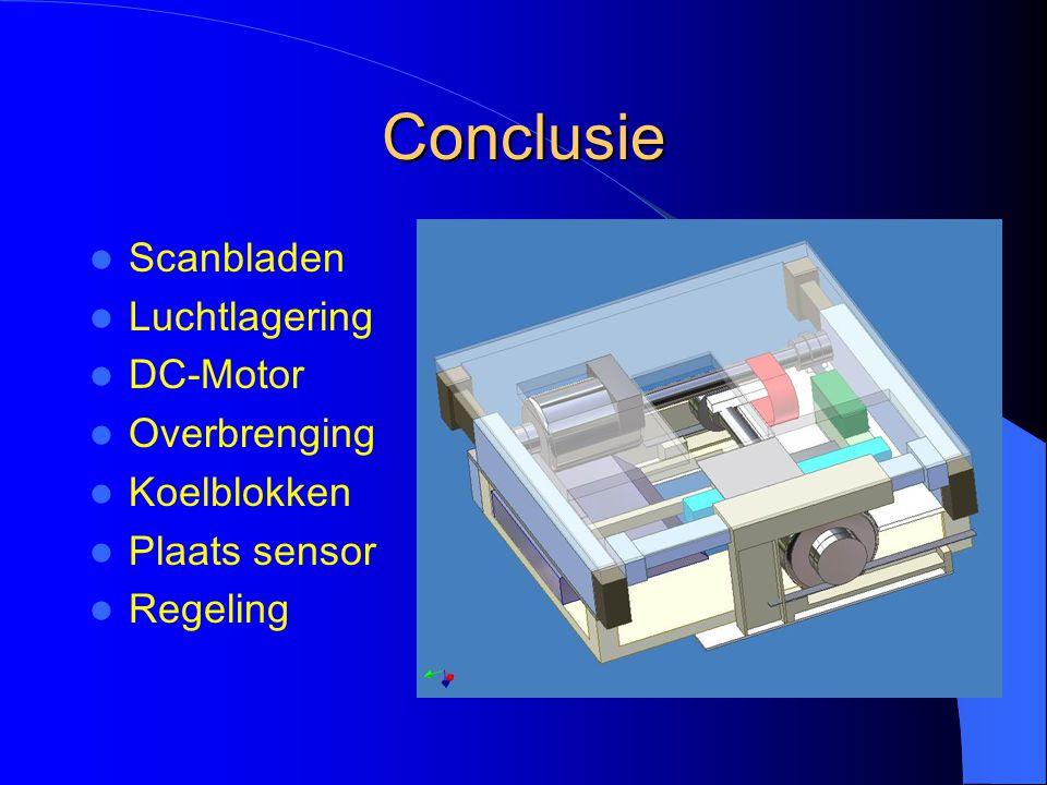 Conclusie Scanbladen Luchtlagering DC-Motor Overbrenging Koelblokken
