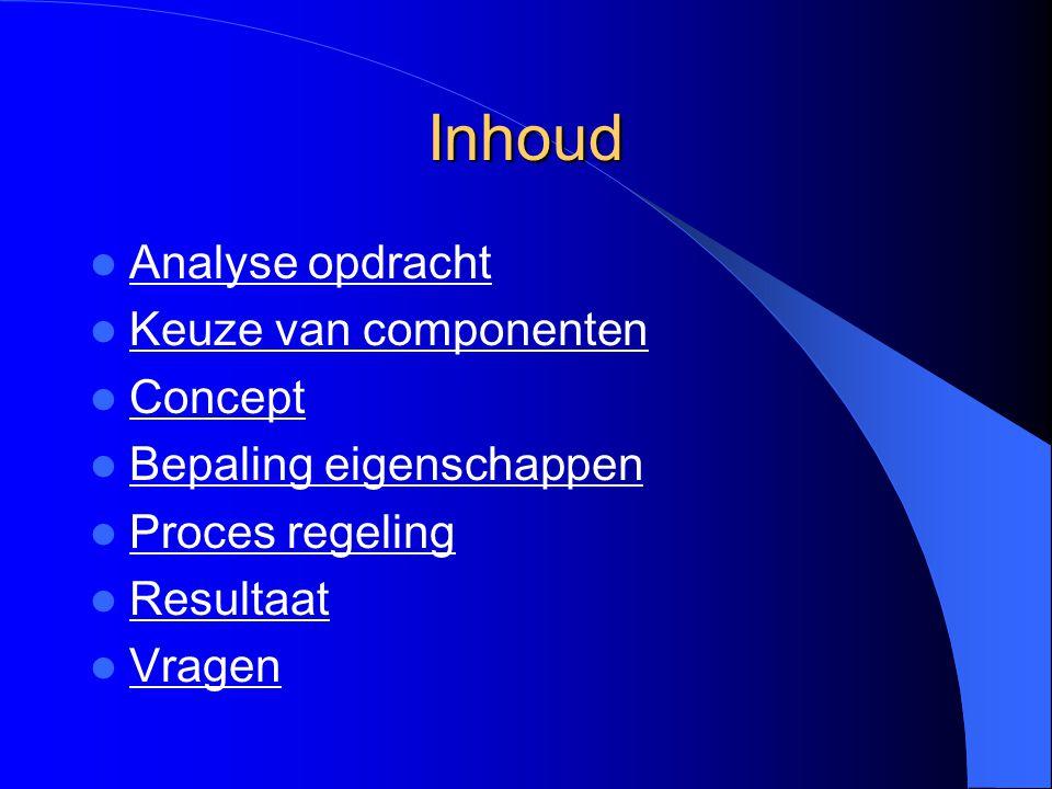 Inhoud Analyse opdracht Keuze van componenten Concept