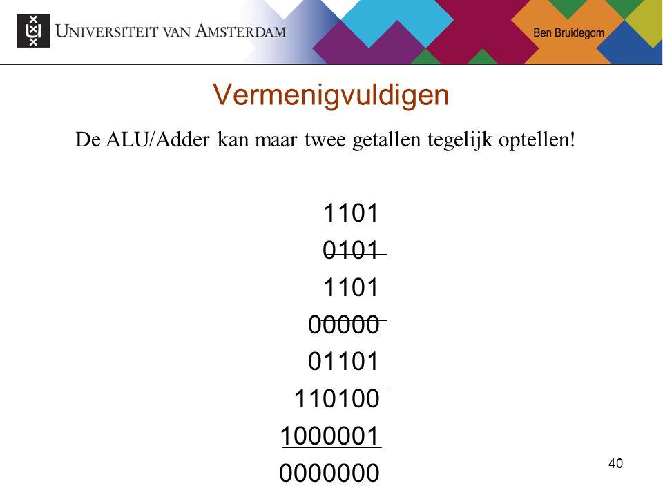 De ALU/Adder kan maar twee getallen tegelijk optellen!