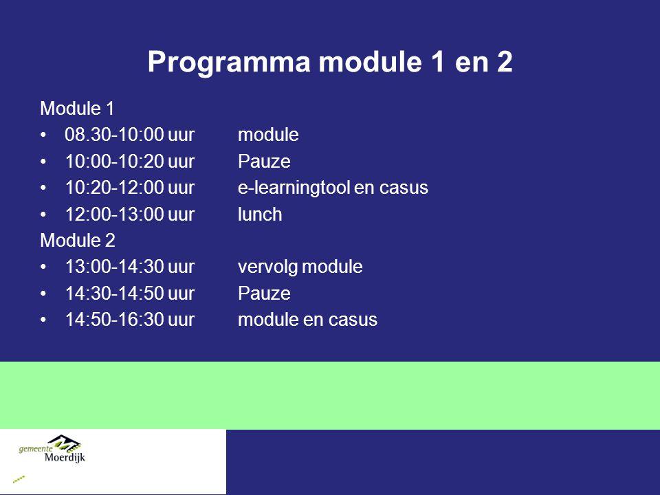 Programma module 1 en 2 Module 1 08.30-10:00 uur module