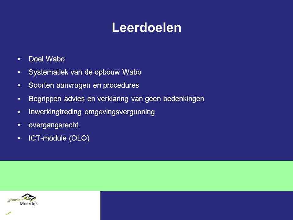 Leerdoelen Doel Wabo Systematiek van de opbouw Wabo