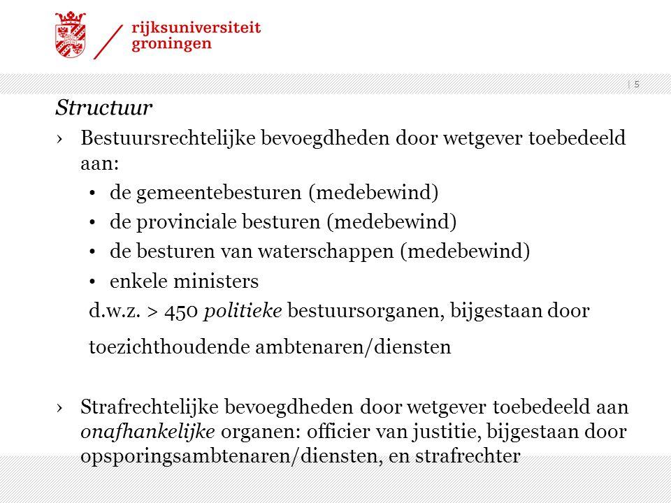 Structuur Bestuursrechtelijke bevoegdheden door wetgever toebedeeld aan: de gemeentebesturen (medebewind)