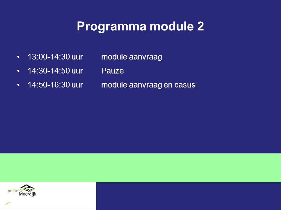 Programma module 2 13:00-14:30 uur module aanvraag