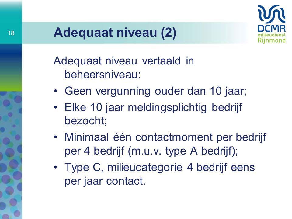 Adequaat niveau (2) Adequaat niveau vertaald in beheersniveau:
