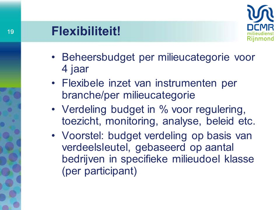 Flexibiliteit! Beheersbudget per milieucategorie voor 4 jaar