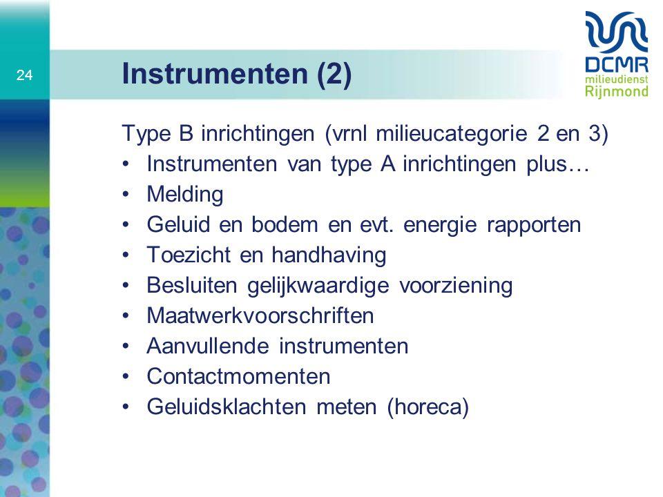 Instrumenten (2) Type B inrichtingen (vrnl milieucategorie 2 en 3)