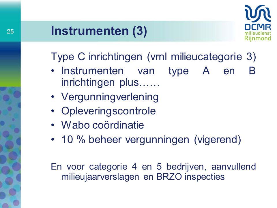 Instrumenten (3) Type C inrichtingen (vrnl milieucategorie 3)