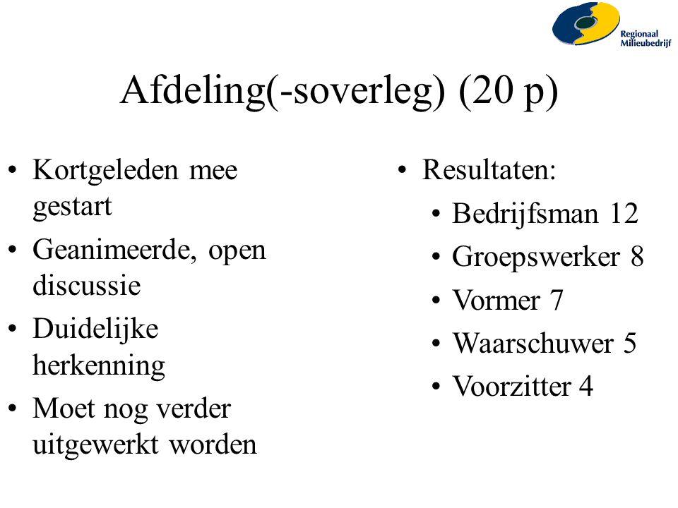 Afdeling(-soverleg) (20 p)