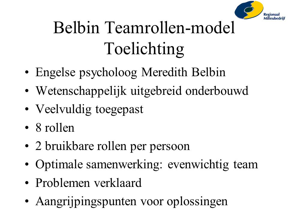 Belbin Teamrollen-model Toelichting