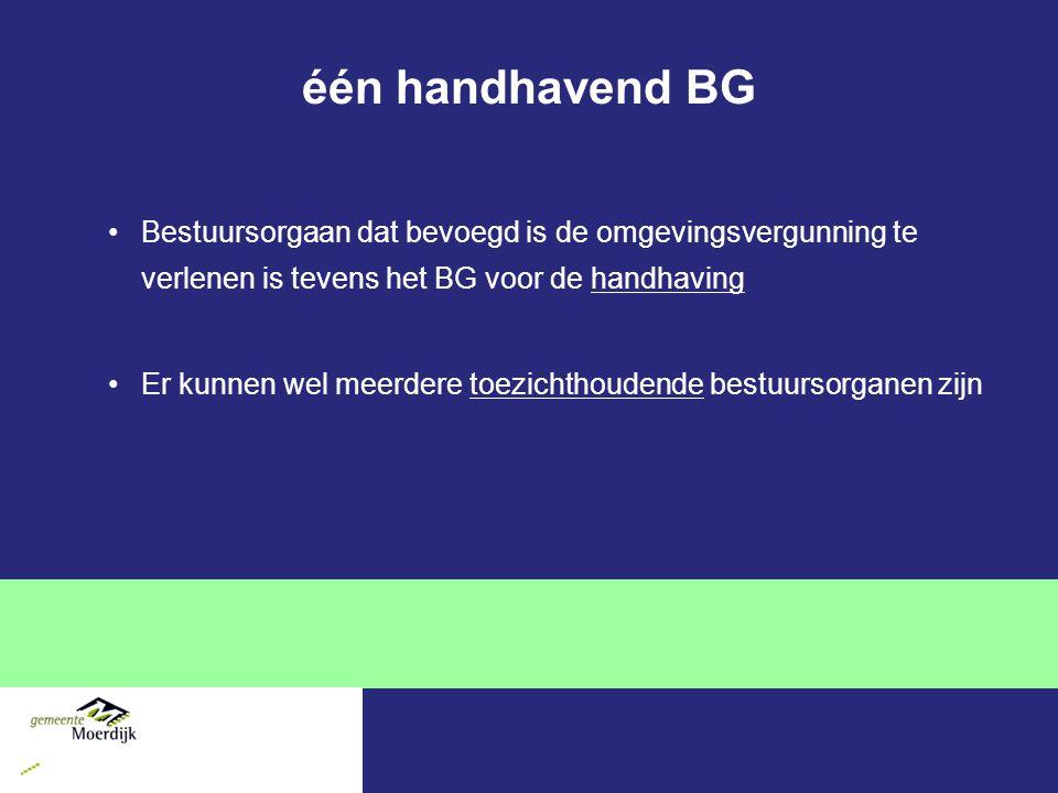 één handhavend BG Bestuursorgaan dat bevoegd is de omgevingsvergunning te verlenen is tevens het BG voor de handhaving.