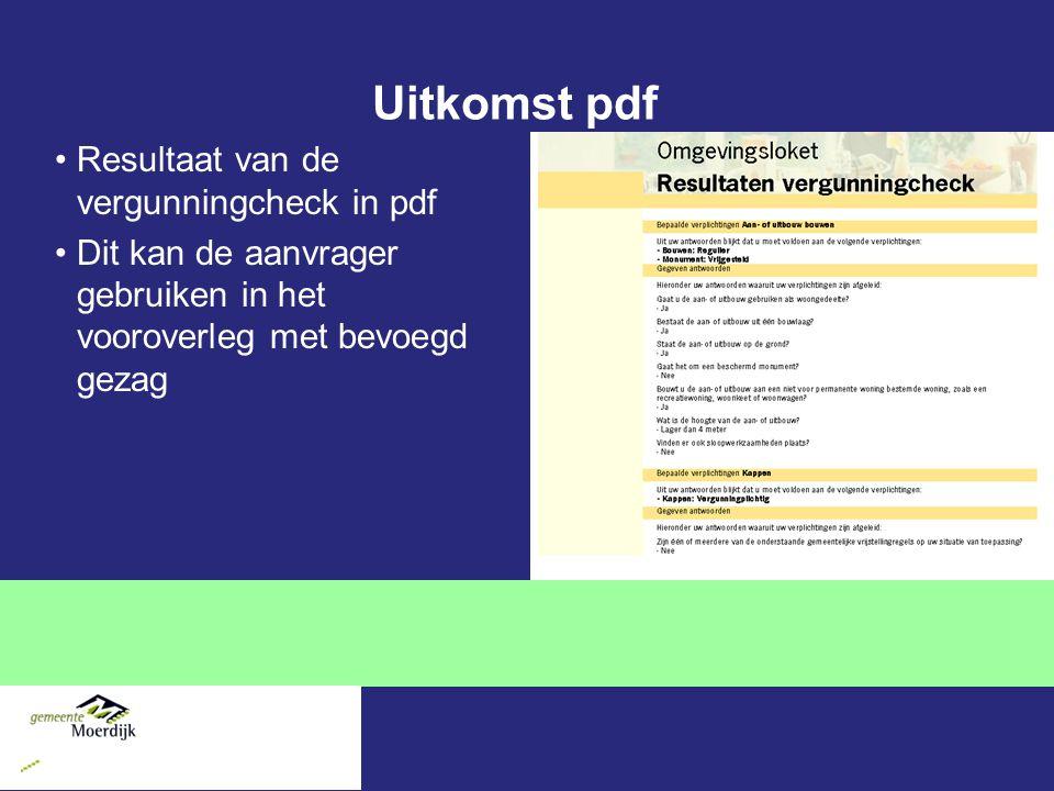 Uitkomst pdf Resultaat van de vergunningcheck in pdf