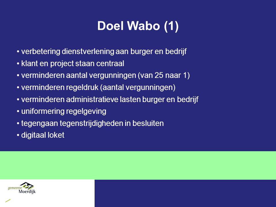 Doel Wabo (1) verbetering dienstverlening aan burger en bedrijf