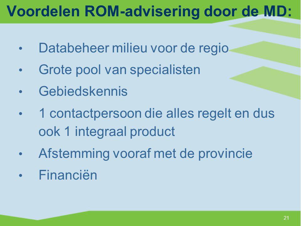 Voordelen ROM-advisering door de MD: