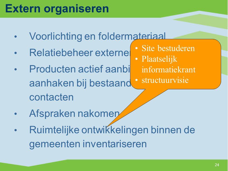 Extern organiseren Voorlichting en foldermateriaal