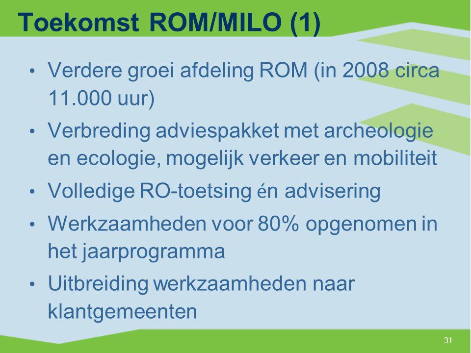 Toekomst ROM/MILO (1) Verdere groei afdeling ROM (in 2008 circa 11.000 uur)