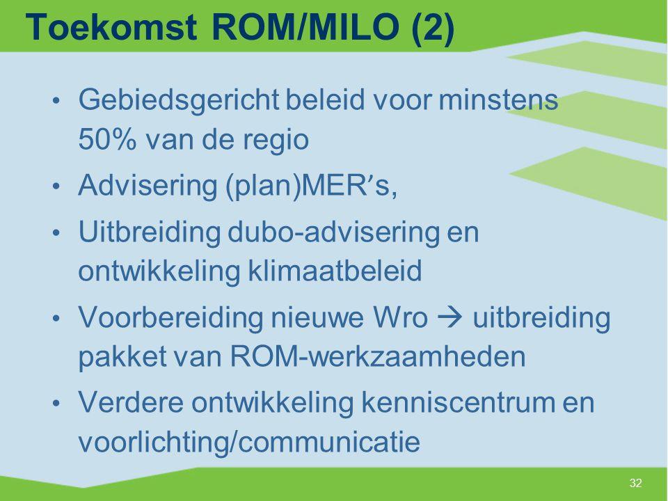 Toekomst ROM/MILO (2) Gebiedsgericht beleid voor minstens 50% van de regio. Advisering (plan)MER's,